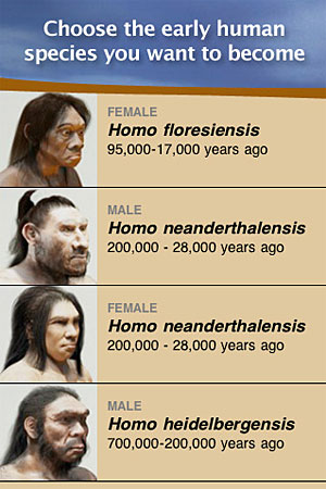 MEanderthal choose the early human species you want to become