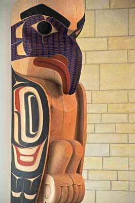 Indoor Sculptures: Tsimshian Totem Pole and Sacred Rain Arrow
