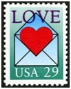 Valentine's Day Events at the Smithsonian. A 29-cent Love stamp was issued in Loveland, Colorado, on February 6, 1992, in time for use on Valentine's Day cards and letters. The stamp features a large red heart emerging from an open envelope. This was the twelfth stamp in the Love Series
