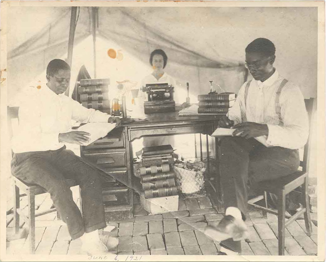 B.C. Franklin and his partner practicing law in a Red Cross tent (NMAAHC, Gift from Tulsa Friends and John W. and Karen R. Franklin)