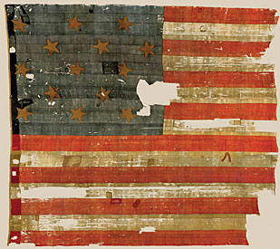 A picture of what remains of the original Star Spangled Banner flag that inspired the U.S. National Anthem