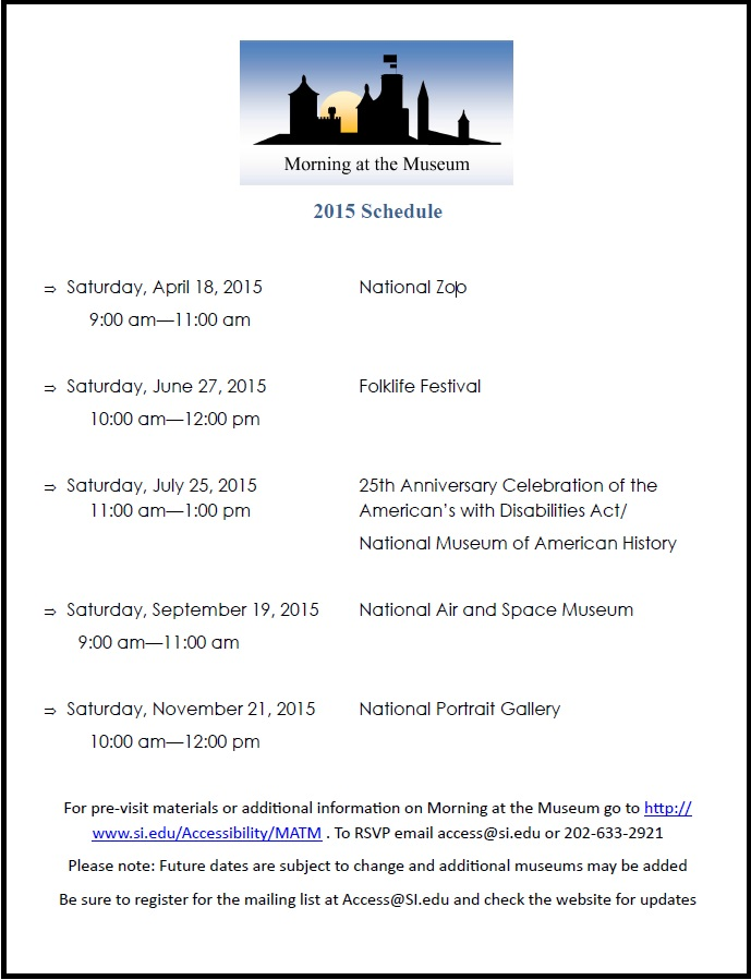 2015 Morning at the Museum Dates