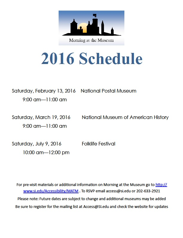 2016 Morning at the Museum Dates