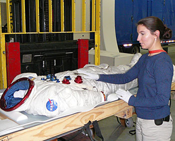 Samantha Snell with Apollo 17 suit