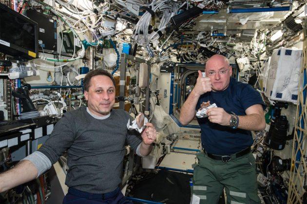 astronauts eating ice cream