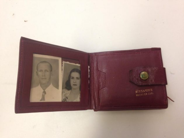 red wallet with photos