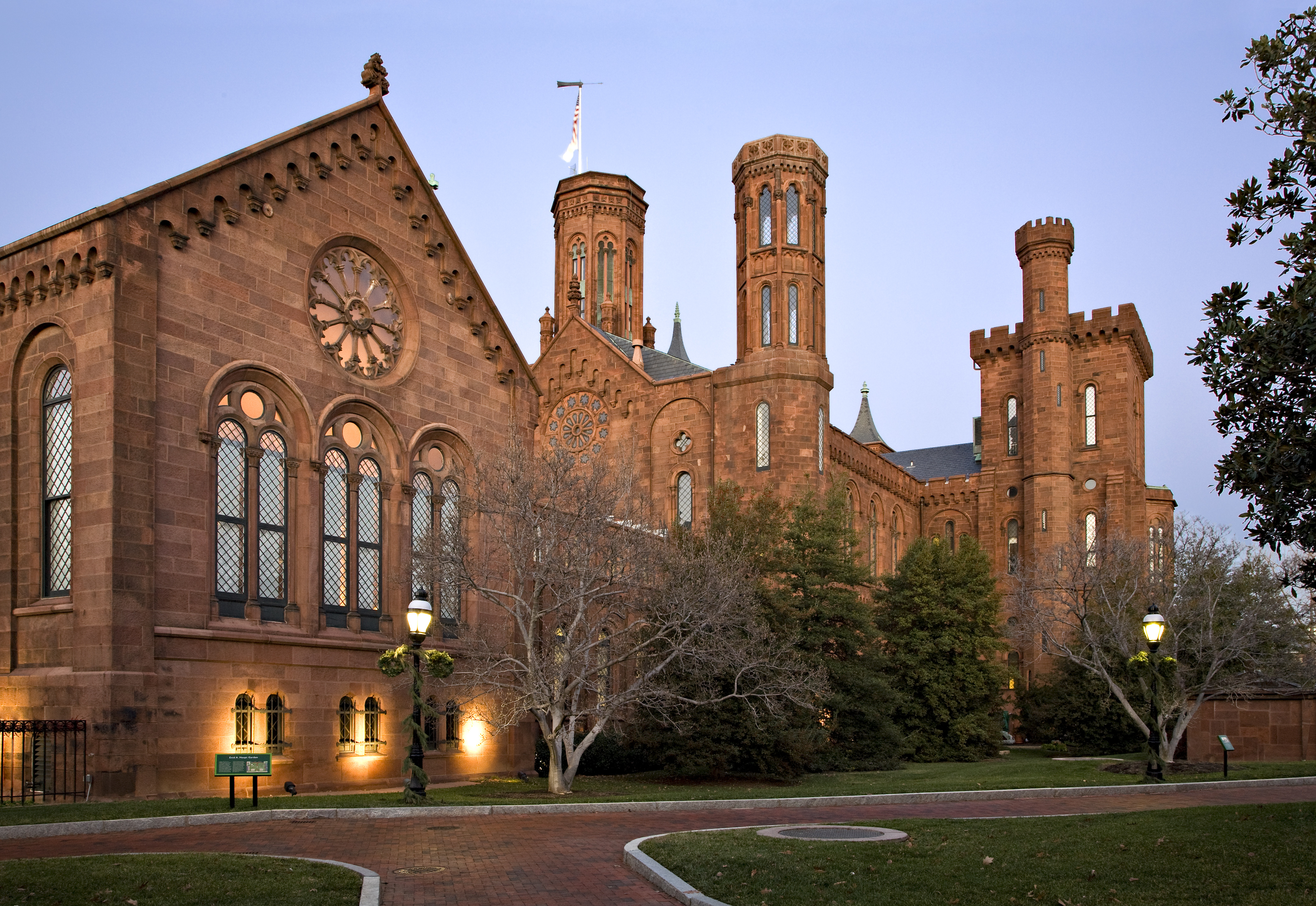 Smithsonian Castle Building at dusk