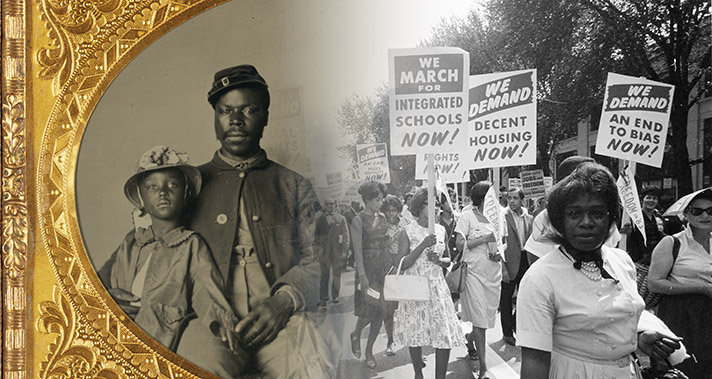 Photo collage of African American soldier, civil rights marchers