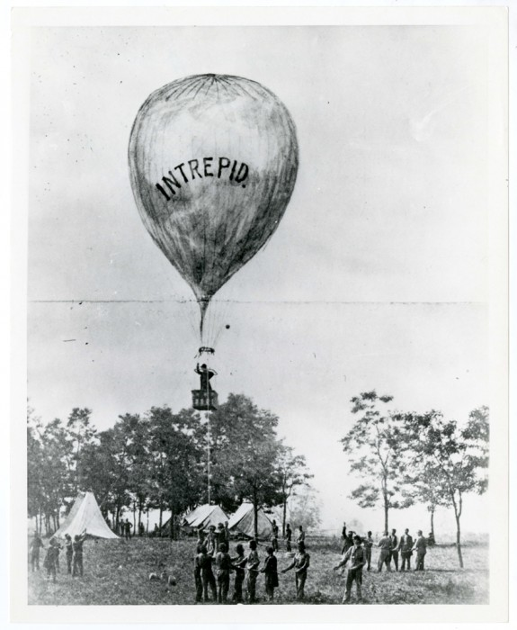 Composite historic photo of hot air baloon