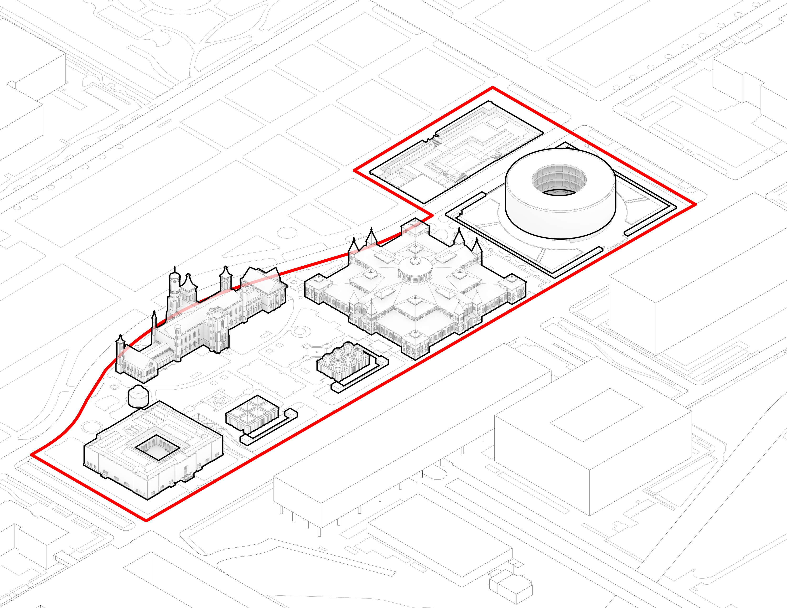Diagram of Smithsonian buildings on the National Mall