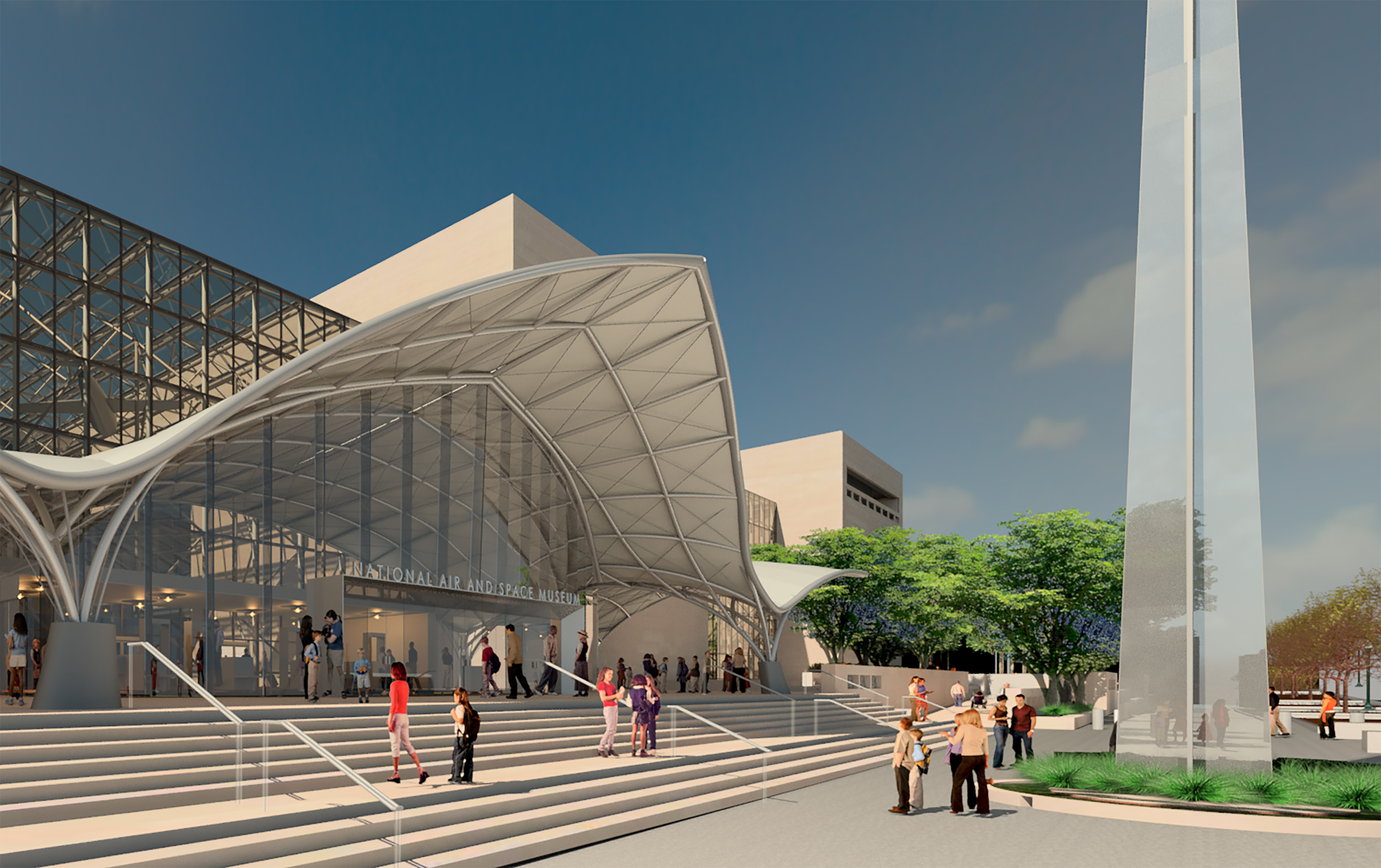 Artists rendering of the renovated Air and Space Museum exterior