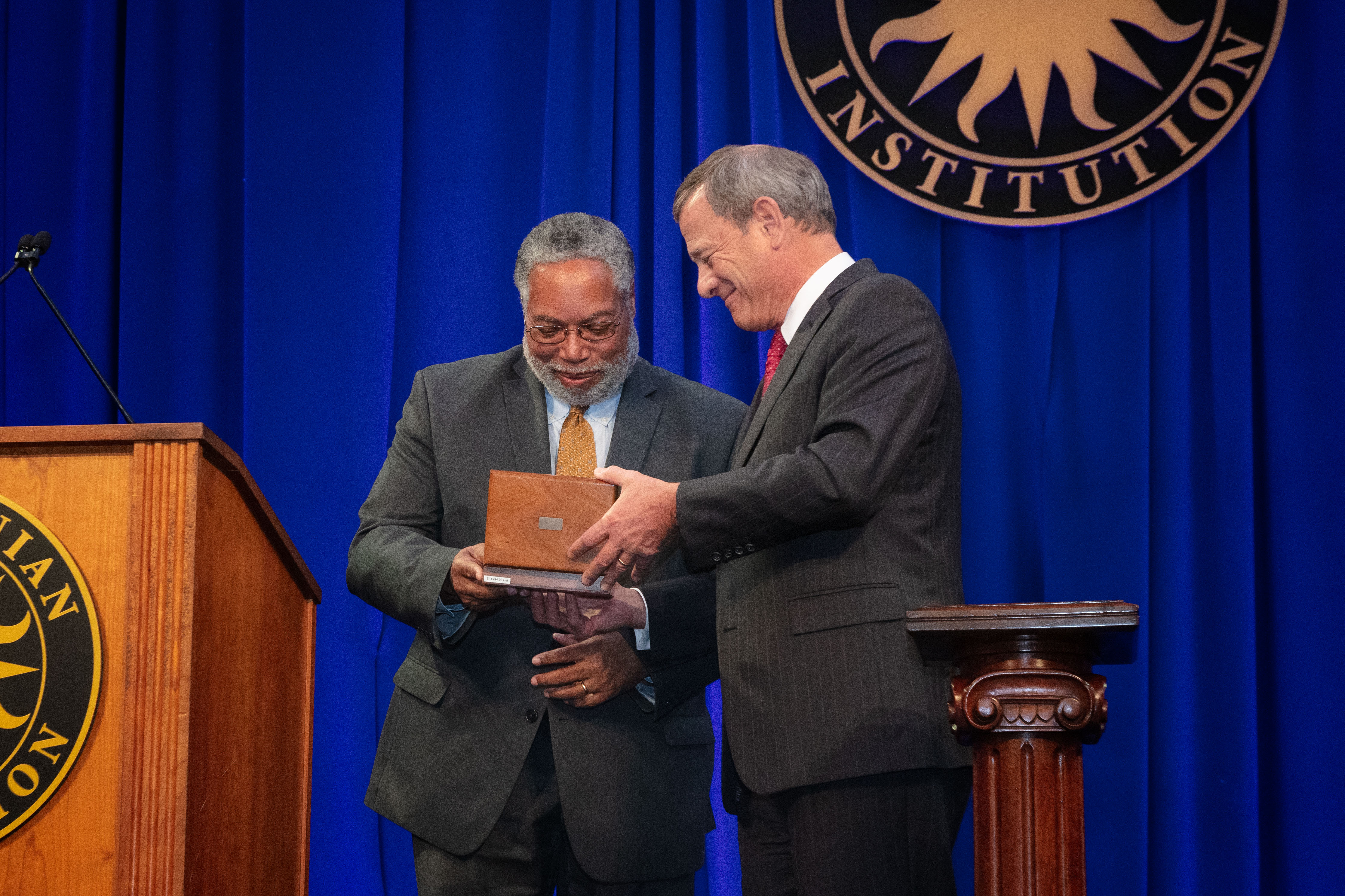 Lonnie Bunch and Justice Roberts