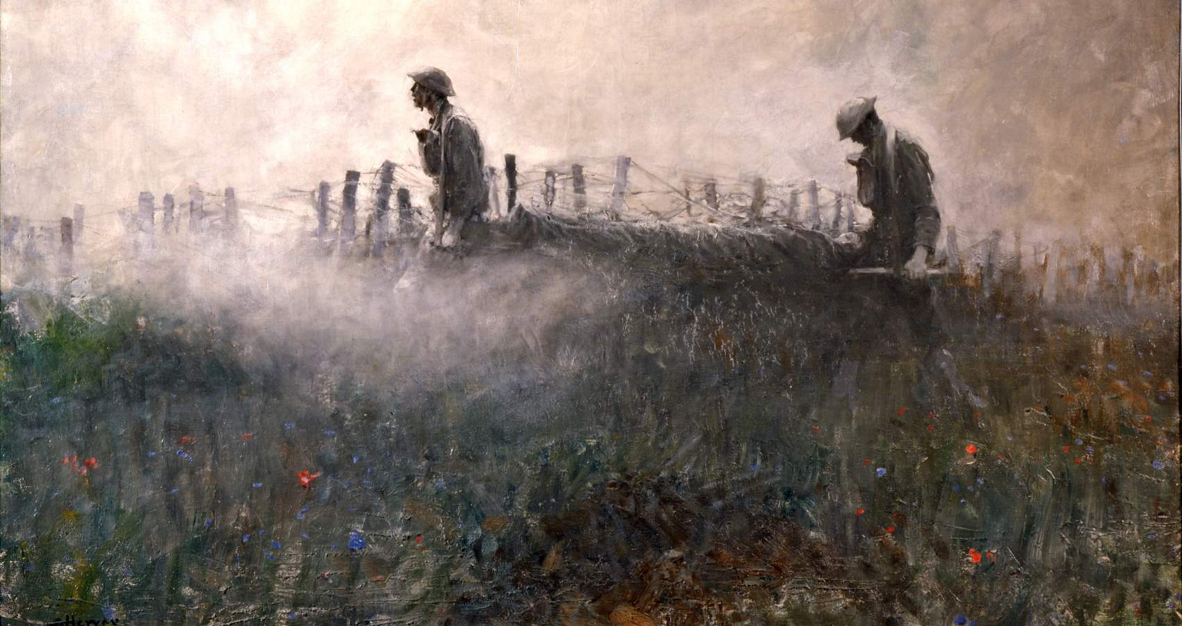 Painting of soldiers in field