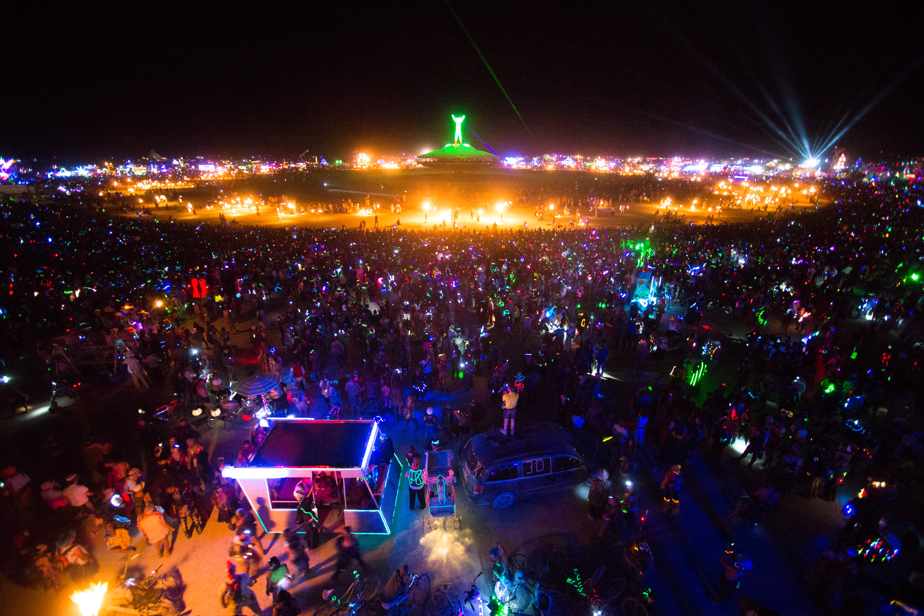 Burning man camp at night