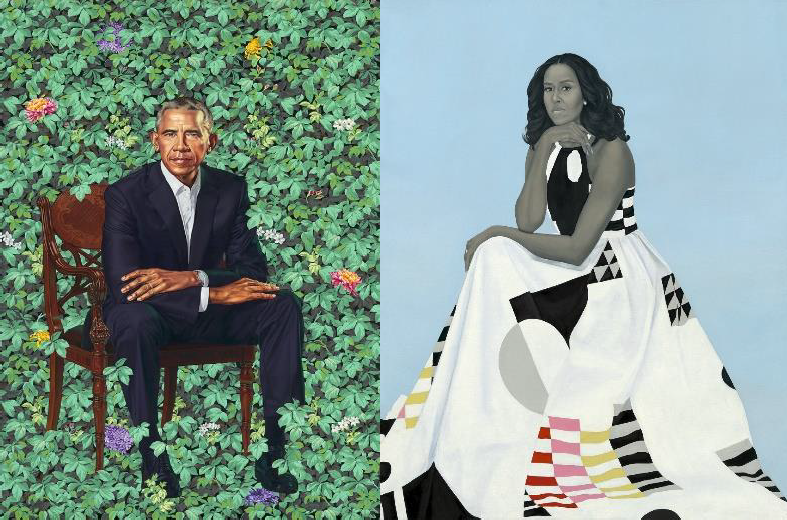 Side by side portraits of Barack and Michelle Obama