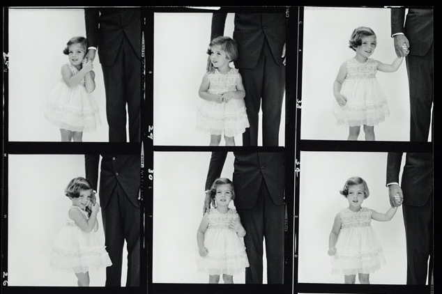 Cropped contact sheet showing young Caroline Kennedy at her father's side