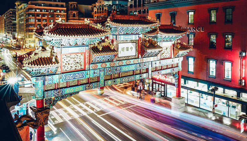 Time lapse photo of DC Chinatown arch at night