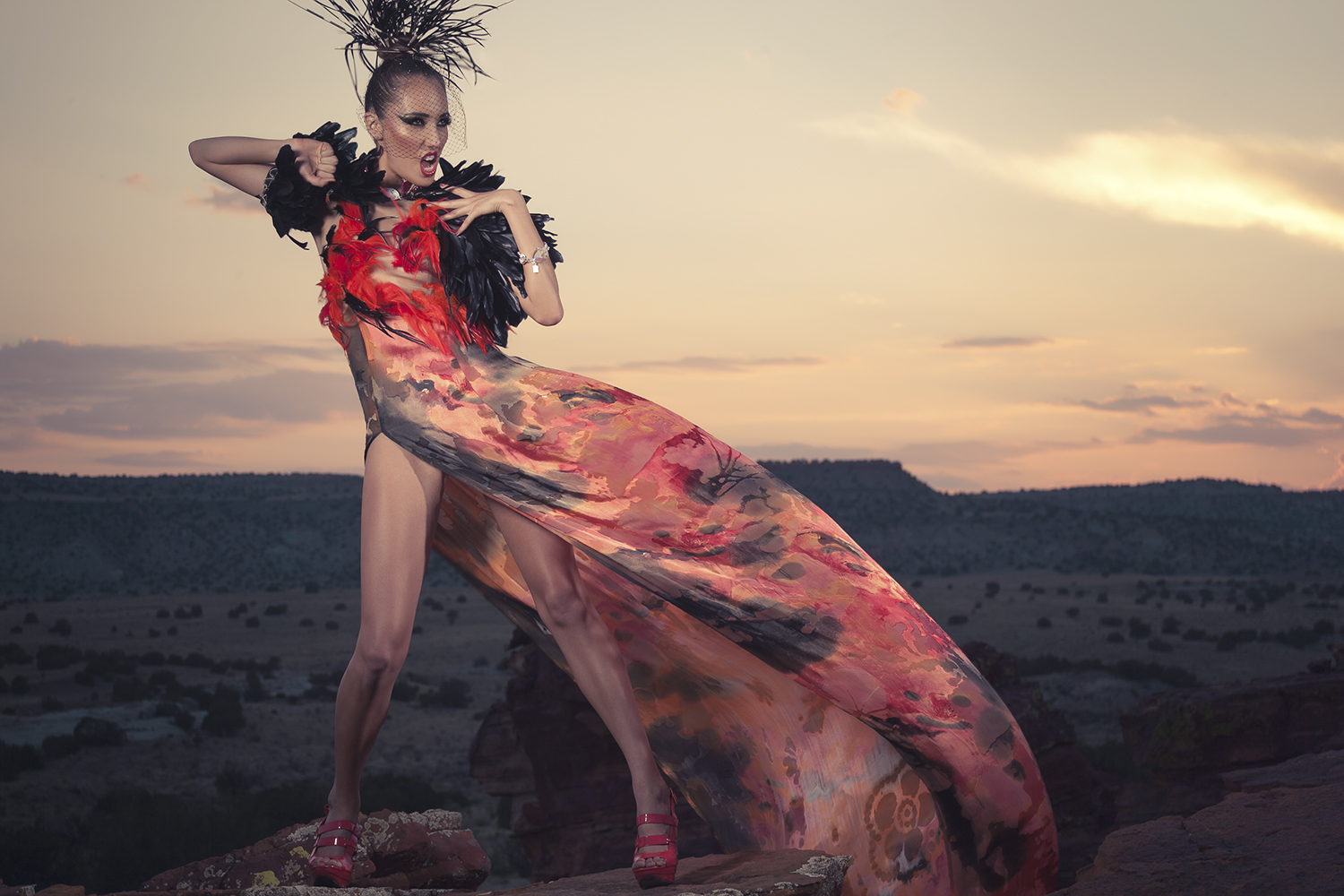 Woman in gown and dramatic makeup posed in desert