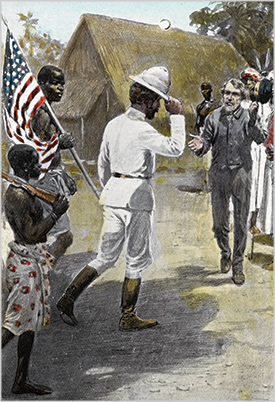 Drawing of Stanley meeting Dr Livingston in Africa