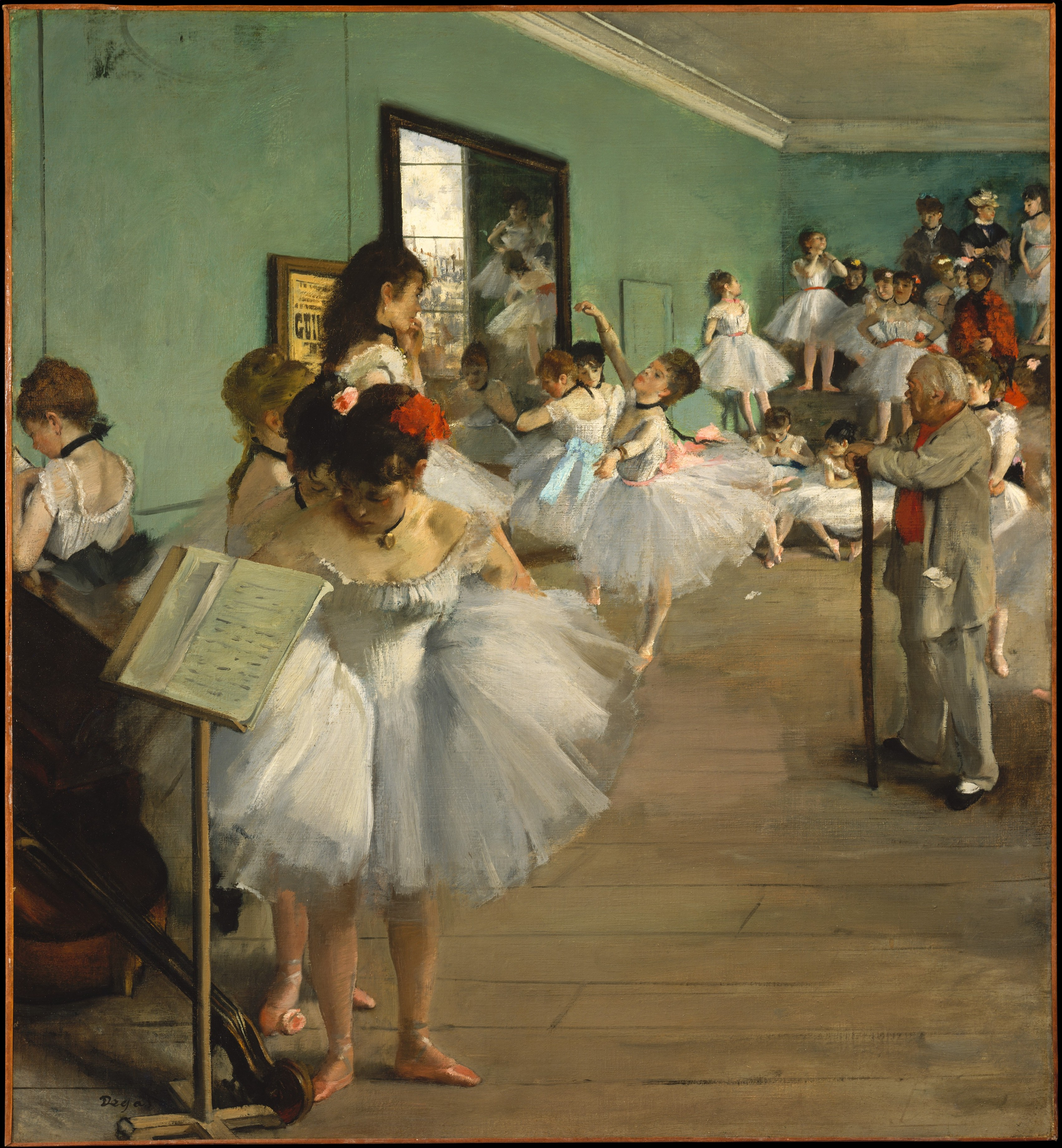 Degas painting of young ballerinas practicing ballet