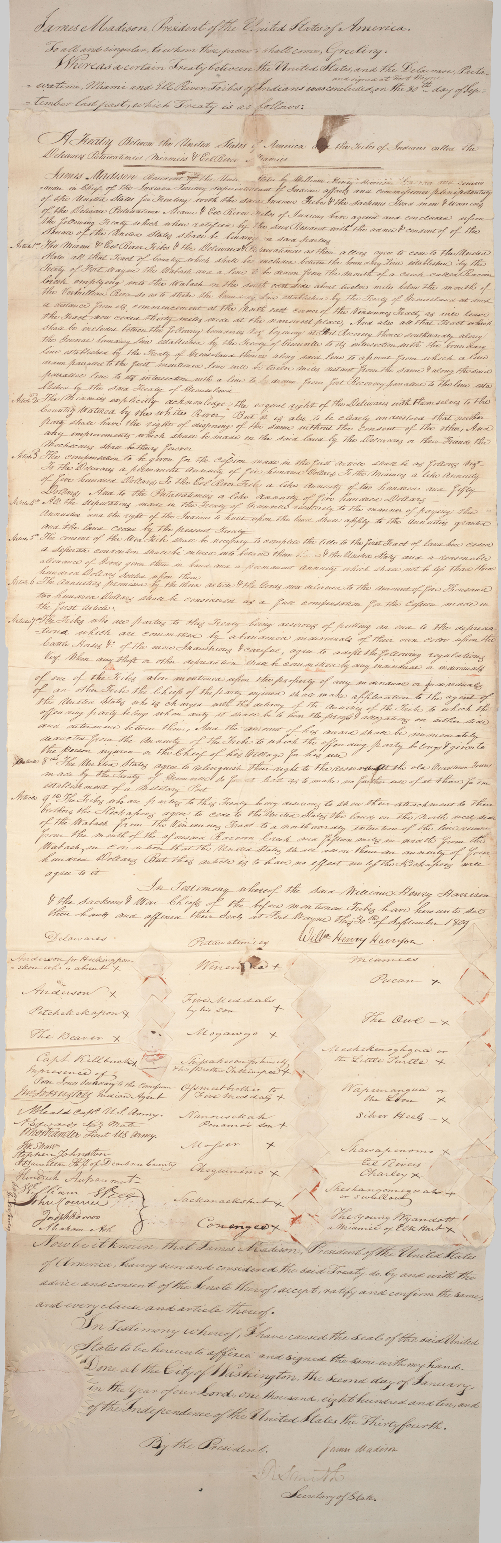 Front page of Ft Wayne treaty