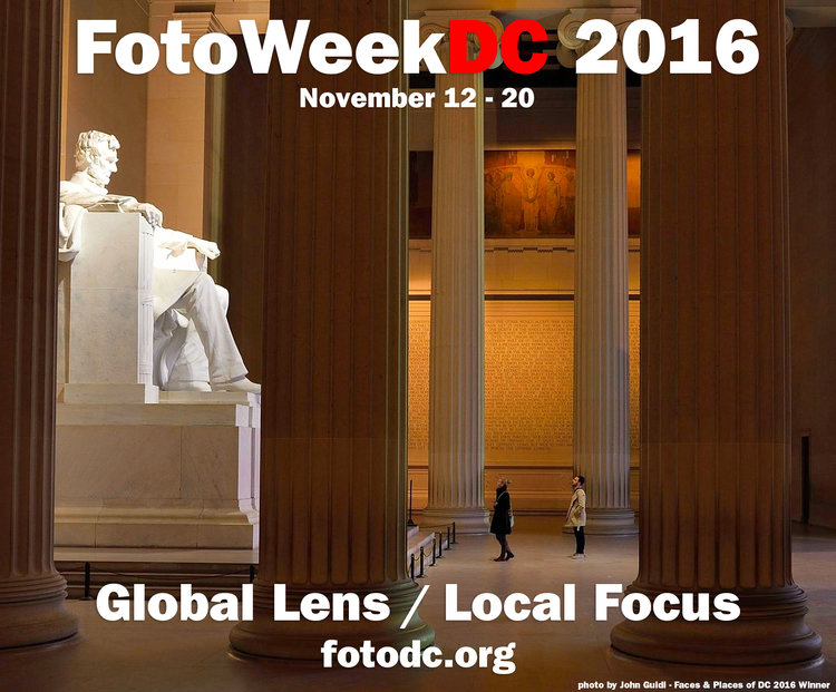 FotoWeek logo superimposed on Lincoln Memorial