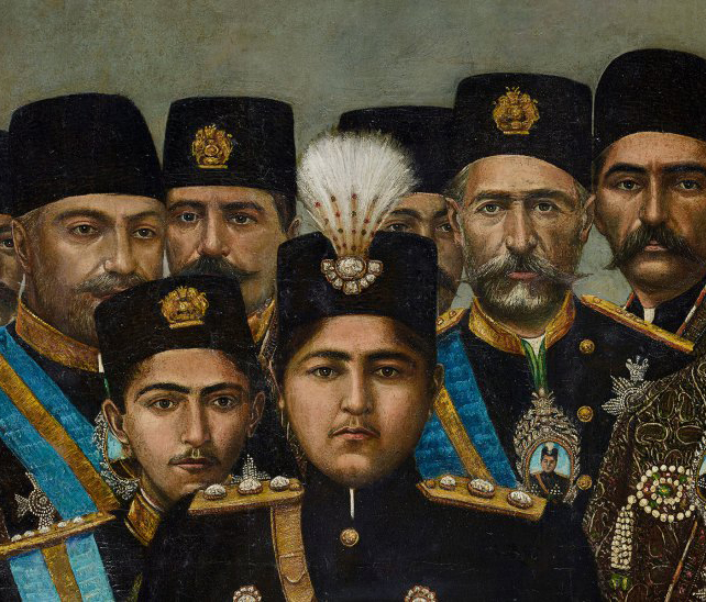 detail of portrait of Persian shah with cabinet