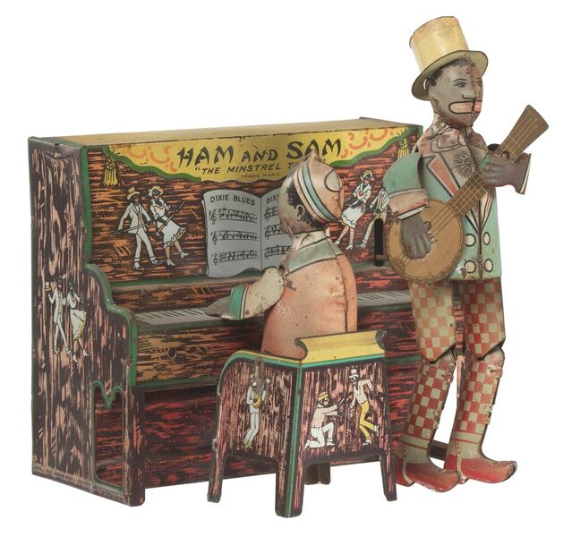 Mechanical toy of minstrel performers Hamm and Samm