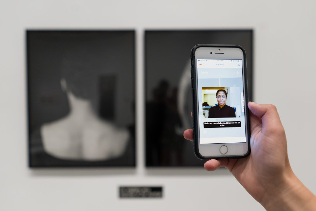 Hand holding phone in front of artwork