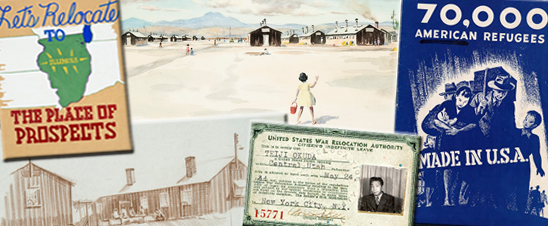 composite image of artifacts relating to Japanese internment