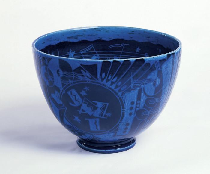 Cobalt blue bowl with black design