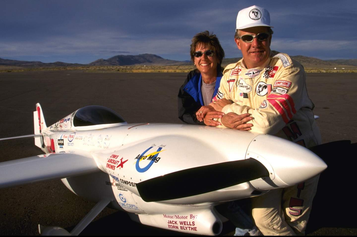 Pilots Jon and Patricia Sharp with their plane
