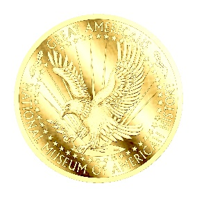 artists rendering of gold medal with eagle on it