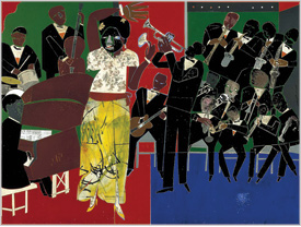 painting of black musicians by Romare Bearden