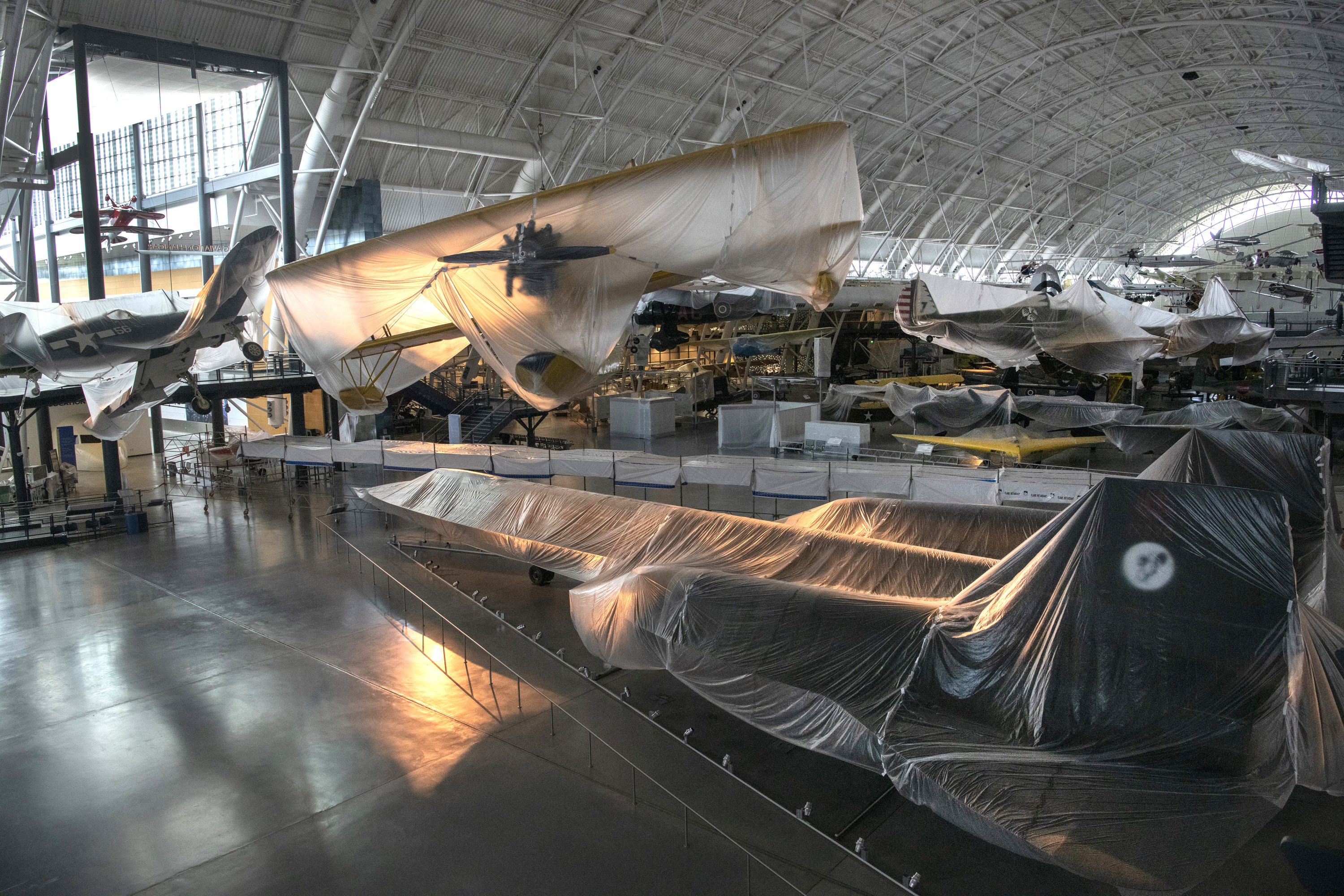 shrouded planes at Udvar-Hazy hangar