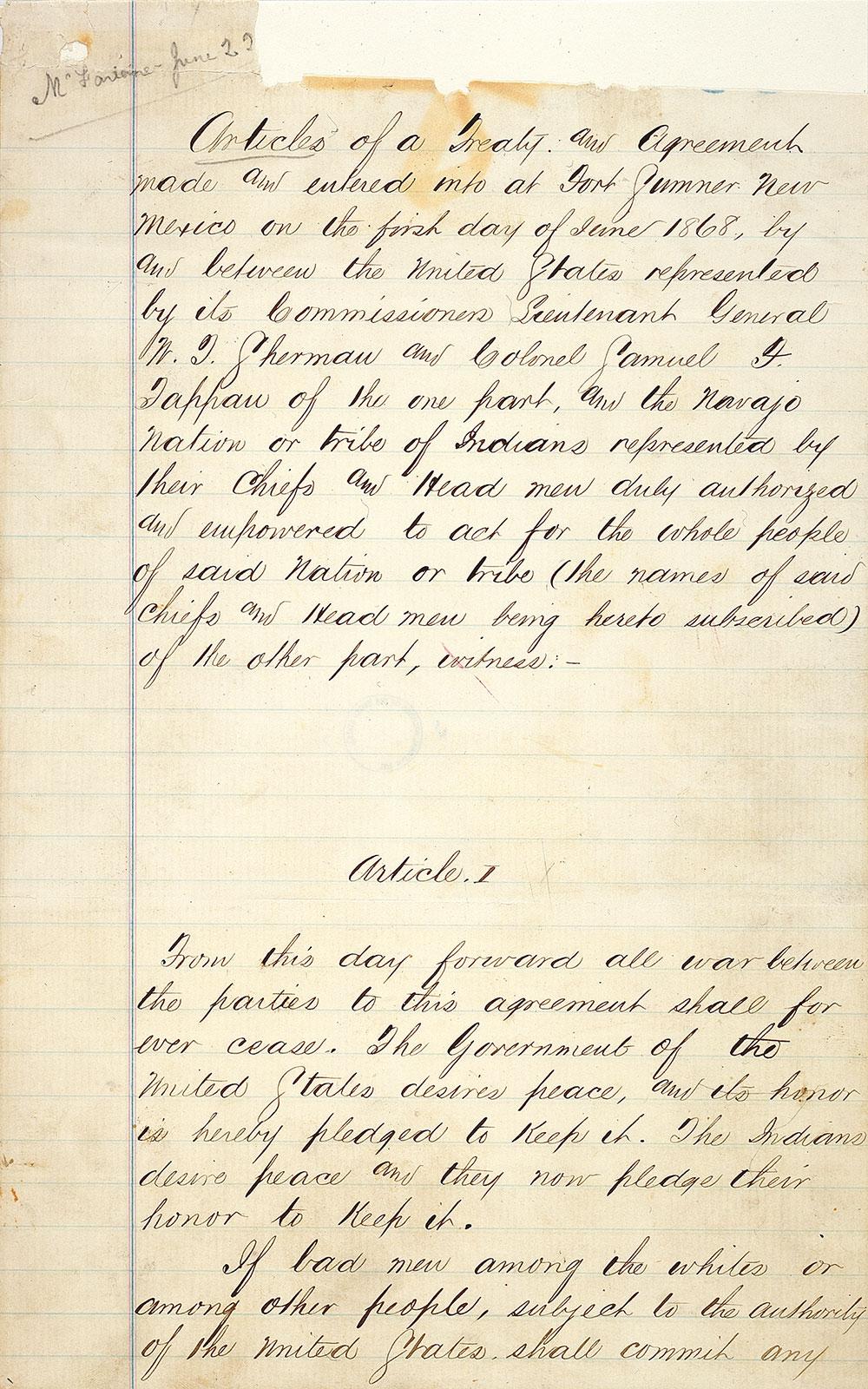 handwritten page from treaty