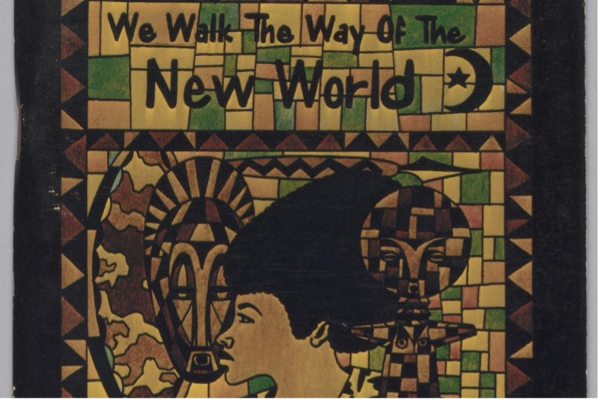 """Artwork with the words """"We Walk the Way of the New World"""""""