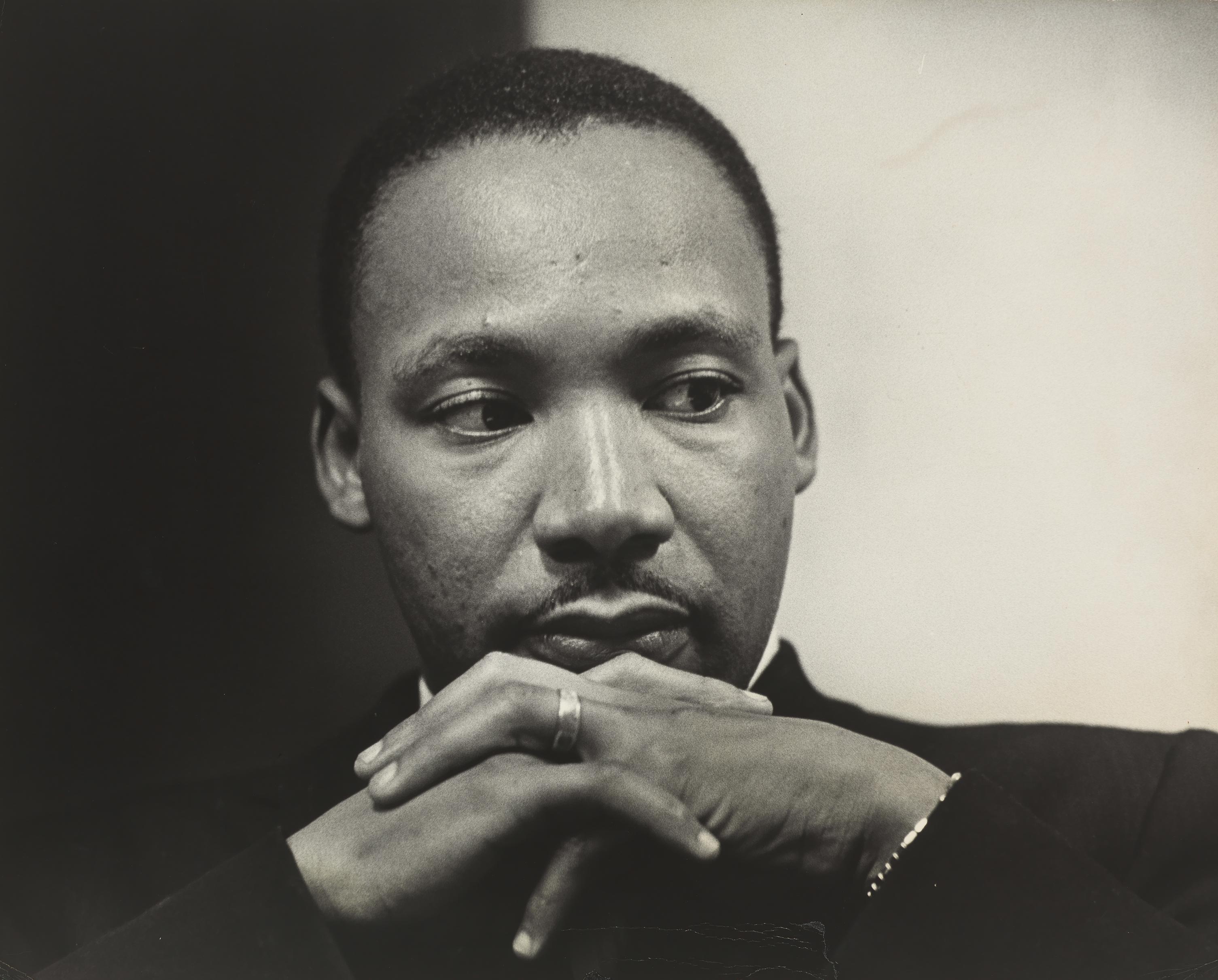 Black and white photo of MLK Jr
