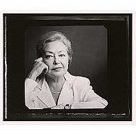 B&W portrait of Mathilde Krim