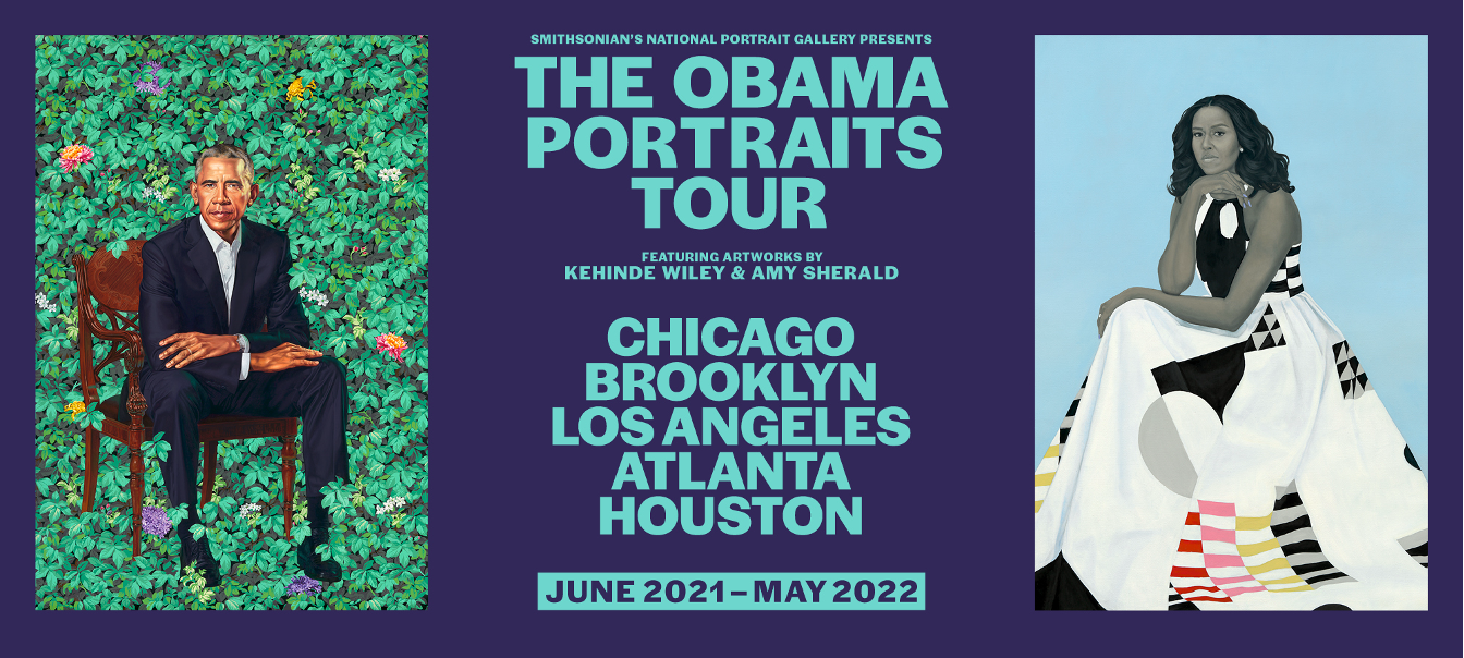 """Graphic with images of portrait paintings and text: """"The Obama Portraits Tour"""""""