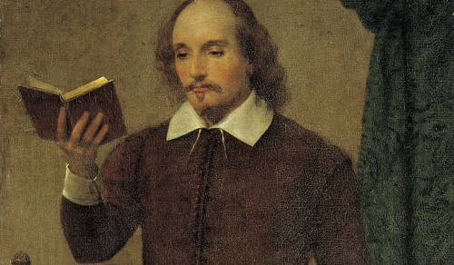 cropped painting of shakespeare holding a book