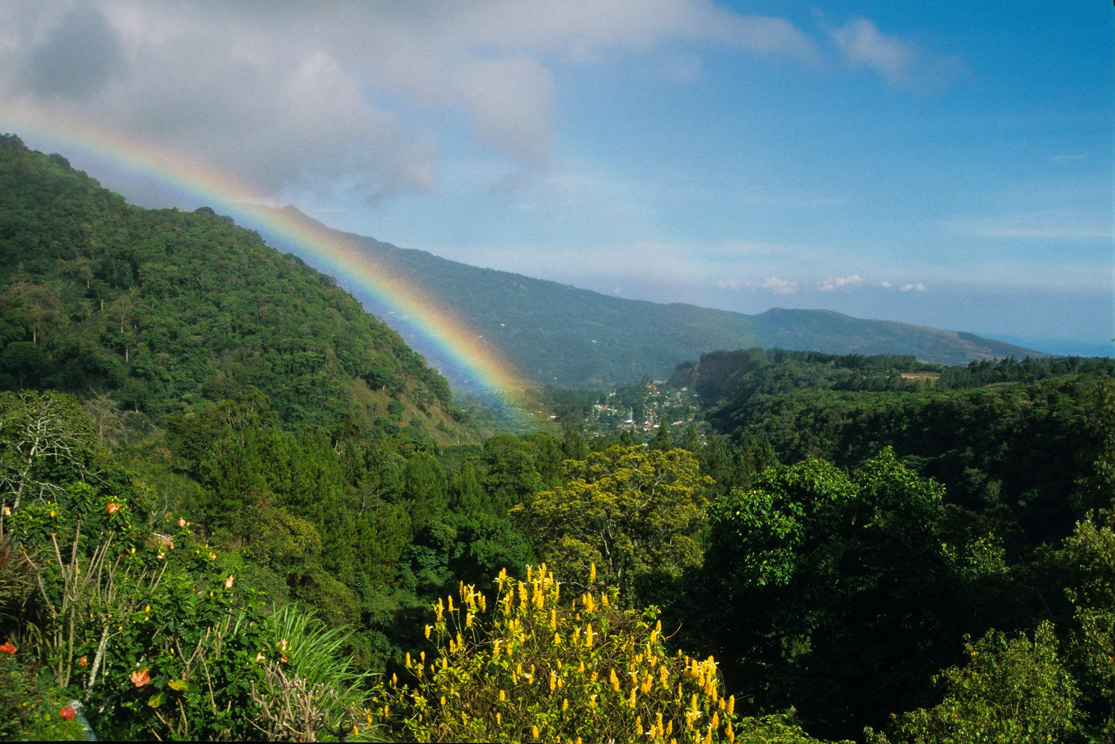 Rainbow over mountains