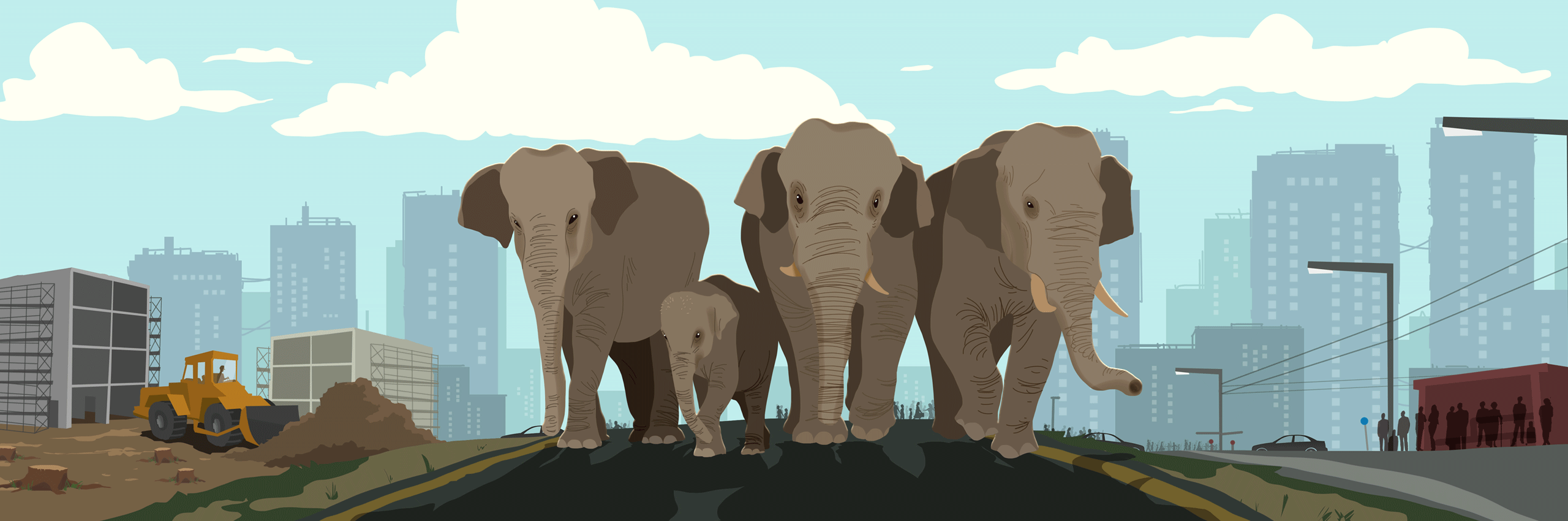 Illustration of three elephants standing in a city