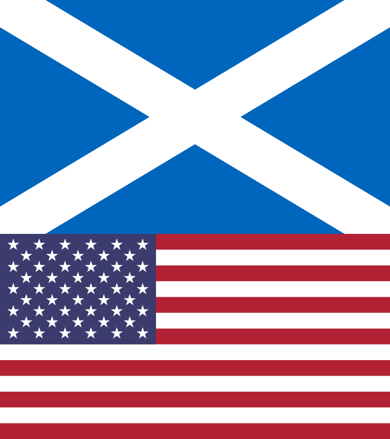 Flags of Scotland and the United States of America