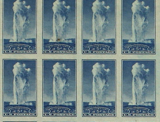 thumbnail crop of stamps showing Old Faithful geyser