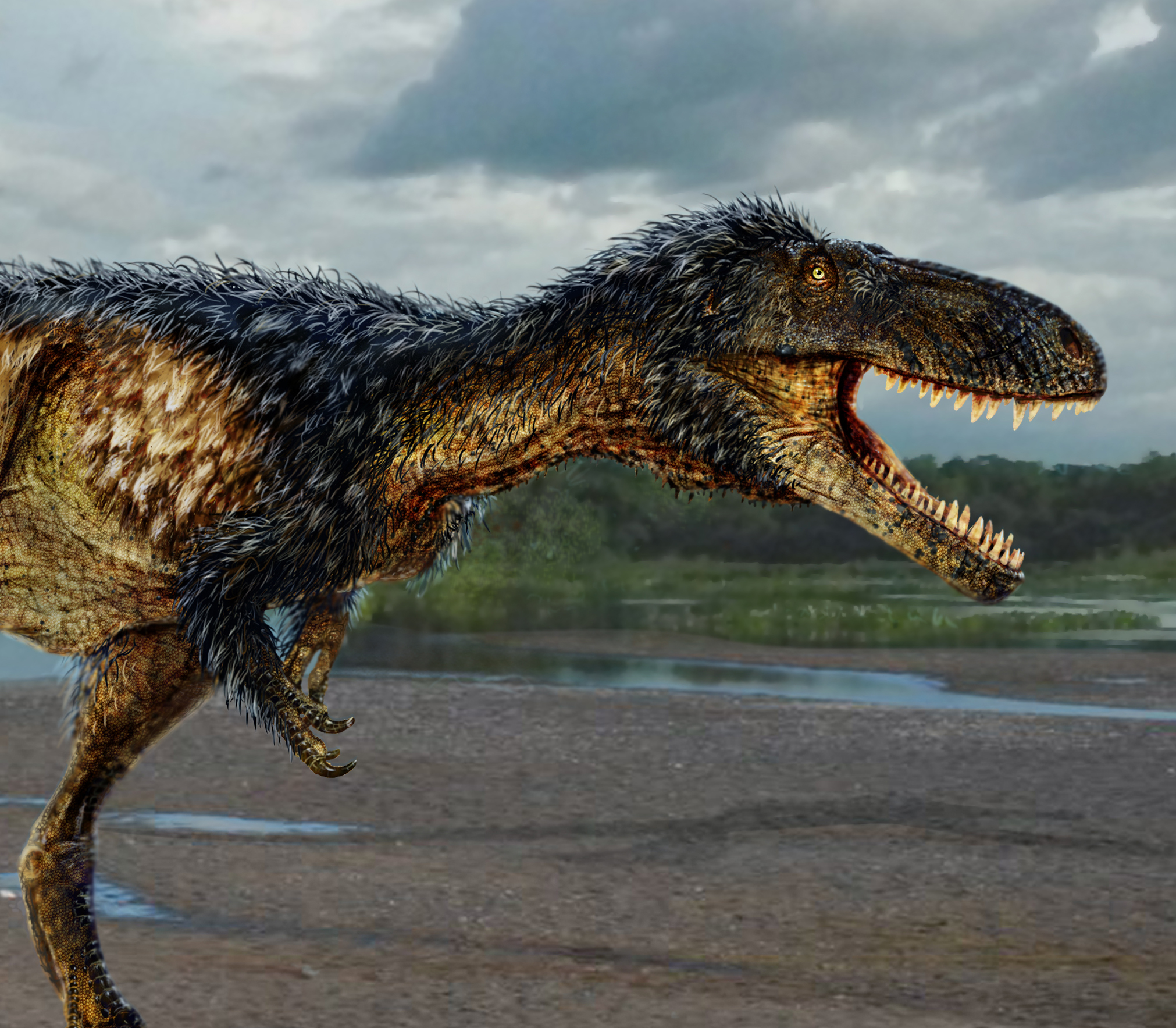 Artists rendering of new dinosaur (detail)
