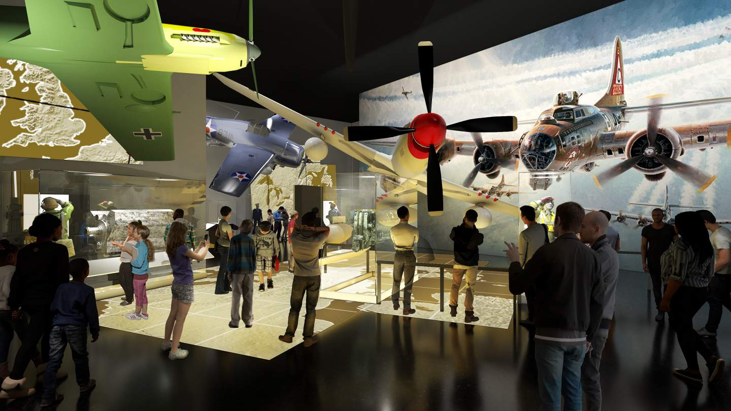 Rendering of exhibition space with a crowd of people looking at airplanes