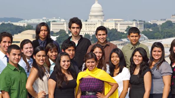 Group of young people with Capitol in the background