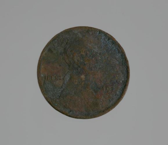 Riot penny charred during the 1921 Tulsa race riot