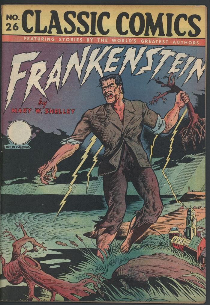 Frankenstein comic book cover.